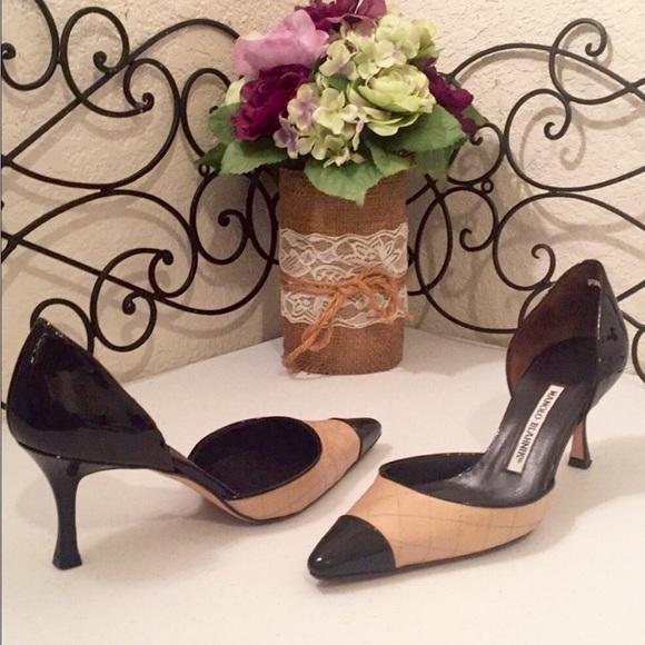 98e3193851927b 🇮🇹MANOLO BLAHNIK Patent Leather Colorblock Heels